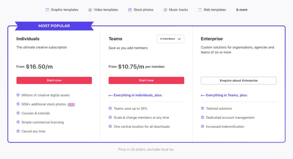Envato Elements pricing